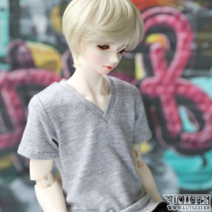 娃娃衣服 MDF V neck T shirt Gray